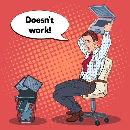 Pop Art Angry Homme d'affaires se bloque ordinateur portable. Stress au travail de bureau. Illustration vectorielle