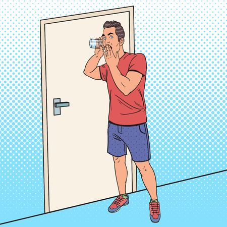 Pop Art Man hoort gesprek met glas. Guy Eavesdrops. Vector illustratie