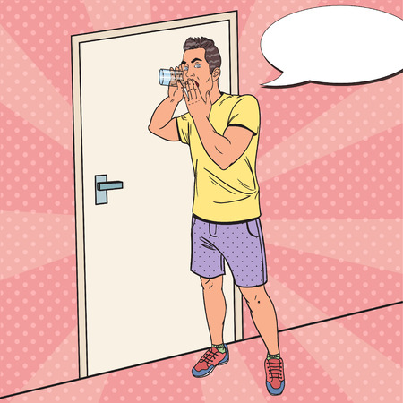Popart Shocked Man hoort gesprek met glas. Guy Eavesdrops. Vector illustratie