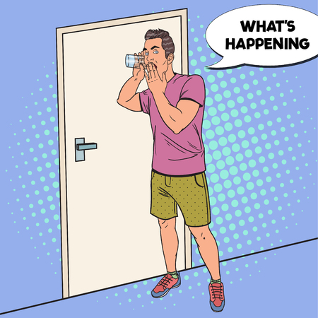 Pop Art surpreendeu homem Overhears conversa com vidro. Espiões de espionagem. Ilustração vetorial Foto de archivo - 87938152