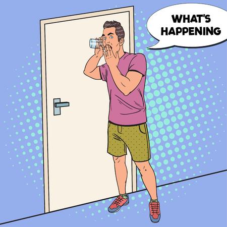 Pop Art Surprised Man hoort gesprek met glas. Spion Eavesdrops. Vector illustratie