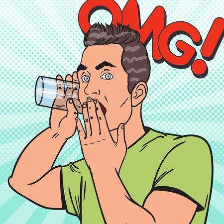 Pop Art Man hoort geheim gesprek met glas. Spion Eavesdrops. Vector illustratie Stock Illustratie