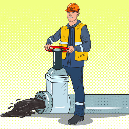 Pop Art Oilman Works with Oil Pipe. Petrochemical Industry. Vector illustration Illustration