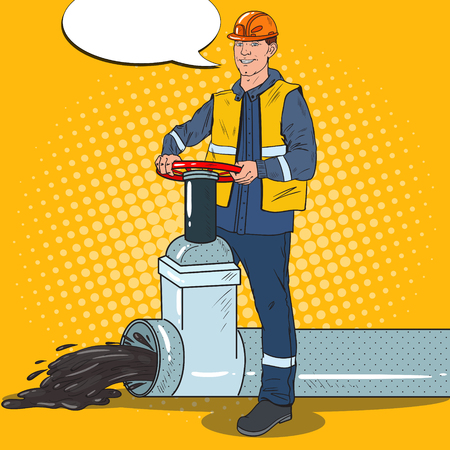 Pop Art Oilman Works with Oil Pipe. Petrochemical Worker. Vector illustration Illustration