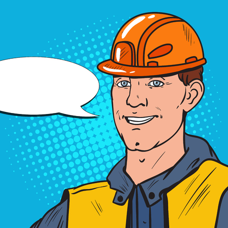 Pop Art Smiling Industrial Worker. Man in Uniform and Helmet. Vector illustration