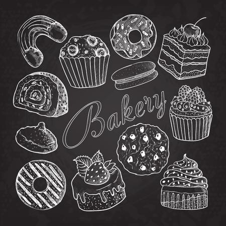 手描きパン屋さんお菓子デザートは黒板に落書き。カップケーキ、クッキー、ドーナツ、マカロン、マフィン セットをスケッチします。ベクトル図