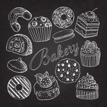 Hand Drawn Bakery Sweets Desserts Doodle on Chalkboard. Sketch Set with Cupcake, Cookie, Donut, Macaroon and Muffin. Vector illustration Ilustração