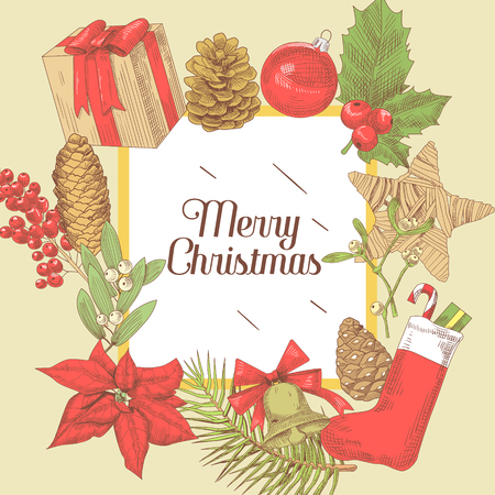 Merry Christmas Vintage Greeting Card. New Year Hand Drawn Decoration. Winter Holidays Background. Vector illustration Imagens - 88307565