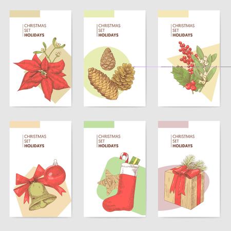 Holly Christmas Vintage Greeting Cards Templates. New Year Hand Drawn Background. Winter Holidays Sketch. Vector illustration Ilustração