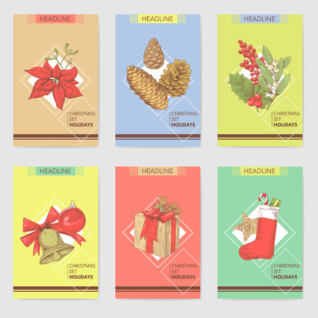 Holly Christmas Vintage Greeting Cards Templates. New Year Hand Drawn Background. Winter Holidays Sketch. Vector illustration Imagens - 88307577