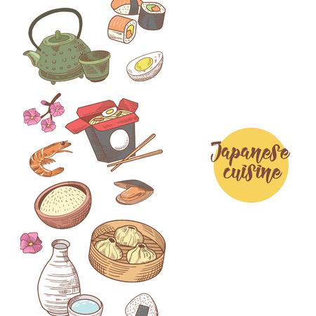 일본 음식 손으로 그려진 배경입니다. 일본 전통 요리입니다. 스시 바 메뉴. 벡터 일러스트 레이 션