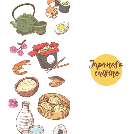 Japanese Food Hand Drawn Background. Japan Traditional Cuisine. Sushi Bar Menu. Vector illustration Ilustração