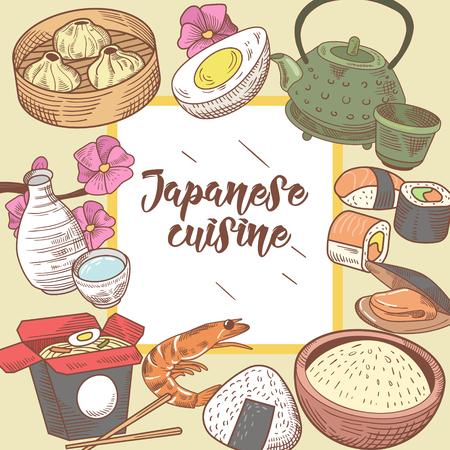 Japans eten Hand getrokken achtergrond. Japanse traditionele keuken. Sushi Bar-menu. Vector illustratie