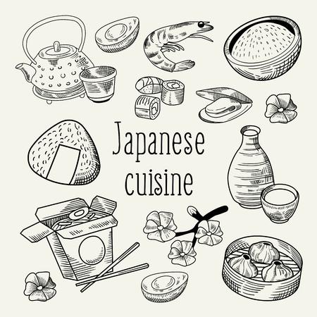 Japanese Food Hand Drawn Background. Japan Traditional Cuisine. Sushi Bar Menu Outline Doodle. Vector illustration