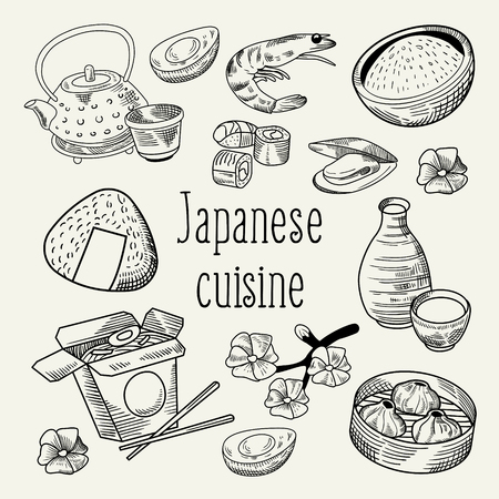 Japanese Food Hand Drawn Background. Japan Traditional Cuisine. Sushi Bar Menu Outline Doodle. Vector illustration