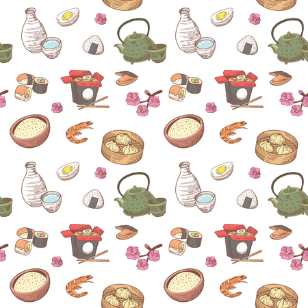 Japanese Food Hand Drawn Seamless Background. Japan Traditional Cuisine Pattern. Sushi Bar Menu. Vector illustration Illustration
