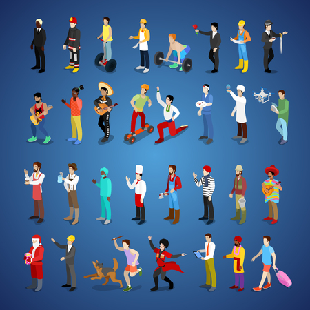 Isometric Men Character Set Different Professions with Businessman, Fireman, Lumberjack and Musician. Vector flat 3d illustration