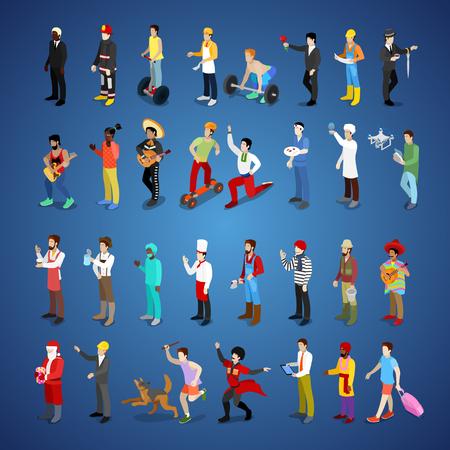 Personnages d'hommes isométriques définis différentes professions avec l'homme d'affaires, pompier, bûcheron et musicien. Illustration 3d plate de vecteur Banque d'images - 88307643