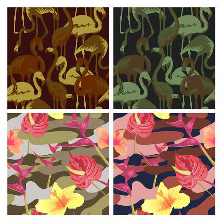군사 원활한 패턴 집합 열 대 조류 플라밍고와 꽃. 위장 배경입니다. 카 모 패션 텍스처입니다. 육군 유니폼. 벡터 일러스트 레이 션