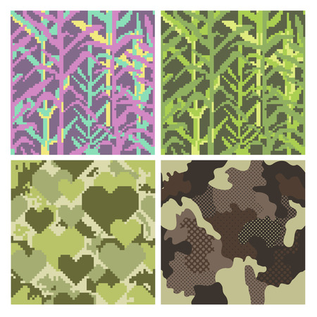 Military Pixelate Seamless Pattern Set with Grass. Camouflage Background. Camo Fashion Texture. Army Uniform. Vector illustration Çizim