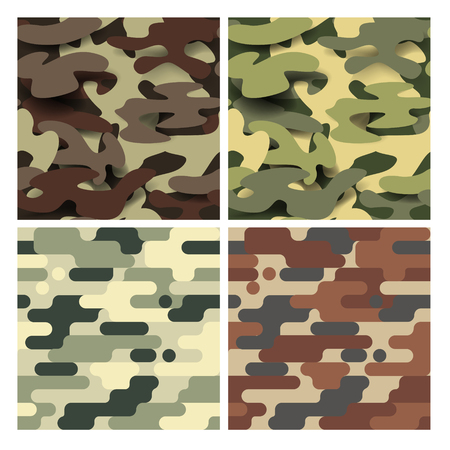 Military Seamless Pattern Set. Camouflage Background. Camo Fashion Texture. Army Uniform. Vector illustration