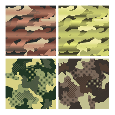 Military Striped Seamless Pattern Set. Camouflage Background. Camo Fashion Texture. Army Uniform. Vector illustration Ilustração