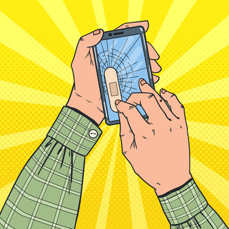 Pop Art Male Hands Holding Broken Smartphone with Crashed Screen. Damaged Cell Phone. Vector illustration Çizim