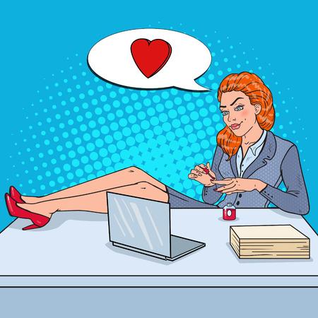 Pop art femme dans les lèvres de peinture à l & # 39 ; amour au bureau ongles ongles illustration vectorielle Banque d'images - 88307750