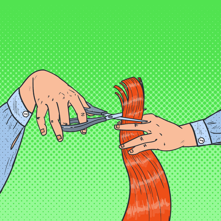 Pop Art Male Hairdressers Hands Cutting Hair with Scissors. Hairstylist, Beauty Salon Barber Shop. Vector illustration