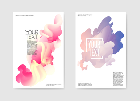 抽象ポスター液体の背景。流体形状パンフレットテンプレート。バナー Id カードカバーデザイン。ベクターイラスト