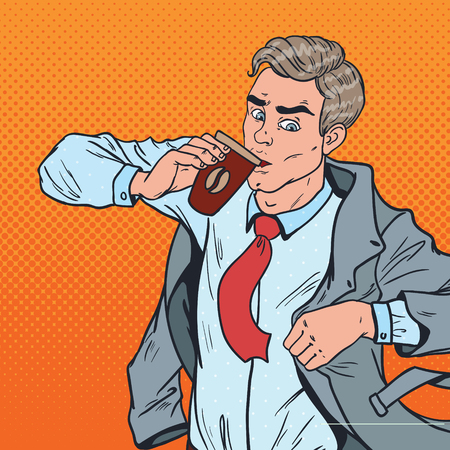 Pop Art Businessman in Rush Late to Work. Man with Coffee Hurry up to Office. Vector illustration