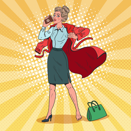 Pop Art Business Woman Hurries to Work. Busy Girl with Morning Coffee. Vector illustration Illustration