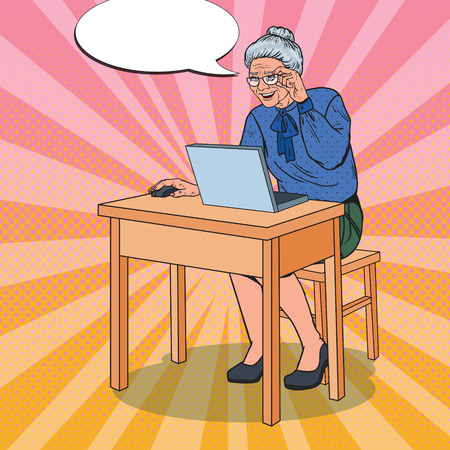Pop Art Happy Senior Woman Using Laptop at Home. Smiling Grandmother with Computer. Vector illustration