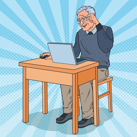 Pop Art Happy Senior Man Using Laptop. Smiling Grandfather with Computer. Vector illustration