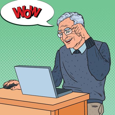 ポップアートハッピーシニア男性ノートパソコンで作業します。コミュニケーションの概念。ベクターイラスト