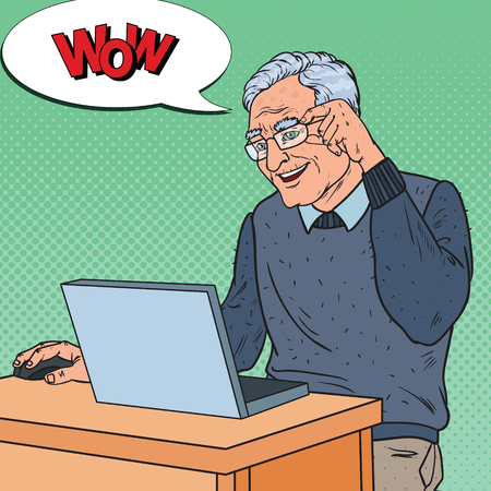 Pop Art Happy Senior Man aan het werk met Laptop. Communicatie Concept. Vector illustratie