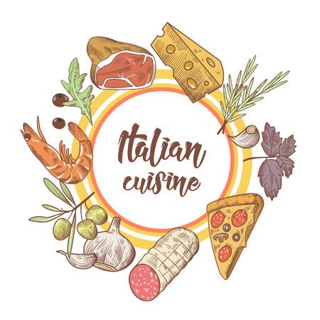 Italiaanse keuken schets Doodle. Ontwerpsjabloon voedsel menu. Hand getrokken traditionele gerechten uit Italië met pizza, kaas en vlees. Vector illustratie Stock Illustratie