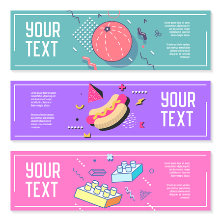 Abstract Memphis Style Horizontal Banners with Geometric Elements. Creative Trendy Modern Composition for Posters, Advertising Design. Vector illustration