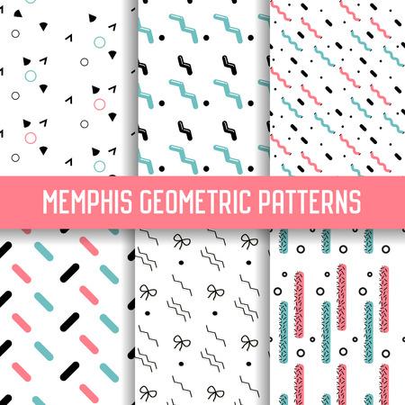 抽象的なメンフィス スタイルのシームレスなパターン セット。幾何学的図形の背景。80-90 年代ファッション ・ デザイン。壁紙、包装紙のテクスチ  イラスト・ベクター素材