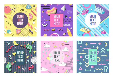 Abstract Memphis Geometric Shapes Placards. 80s 90s Trendy Retro Posters, Banners, Covers Design. Flyers Cards Templates. Vector illustration