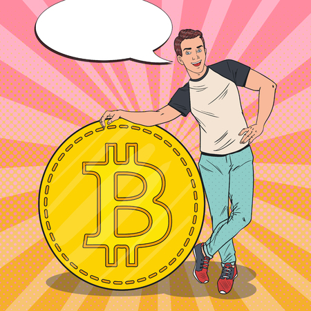 Popart lachende man met grote bitcoin. Cryptocurrency Concept. Vector illustratie