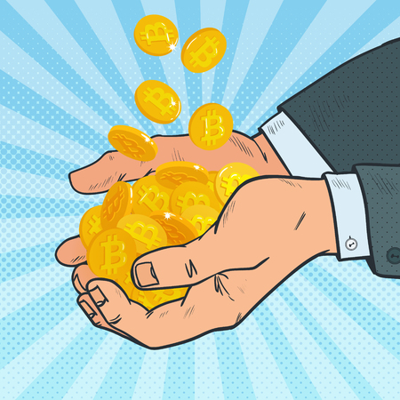 technology transaction: Pop Art Male Hands Full of Golden Bitcoin. Crypto Currency. Virtual Money. Vector illustration