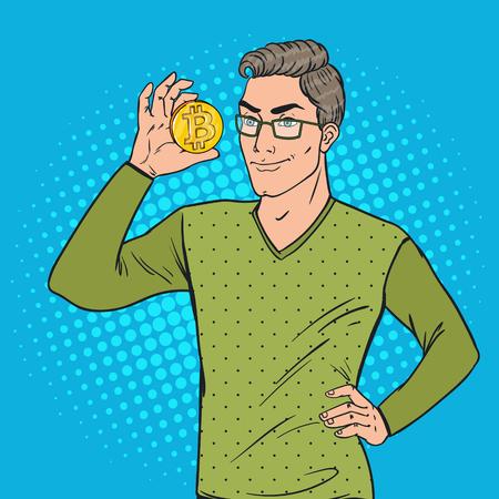Pop Art Smart Man Tenant Bitcoin d'or. Devise de chiffrement virtuel. Illustration vectorielle Banque d'images - 89058764