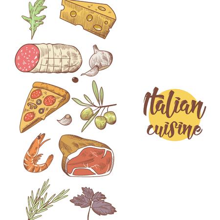 イタリア料理フード メニュー デザイン テンプレートです。手には、伝統的なイタリア料理のピザ、チーズと肉が描画されます。ベクトル図