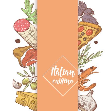 Italienische Küche Sketch Doodle. Essen Menü Design-Vorlage. Hand gezeichnete traditionelle Italien-Teller mit Pizza, Käse und Fleisch. Vektor-Illustration Standard-Bild - 89058824