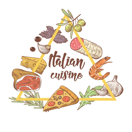 イタリア料理スケッチ落書き。食品メニュー デザイン テンプレートです。手には、伝統的なイタリア料理のピザ、チーズと肉が描画されます。ベク