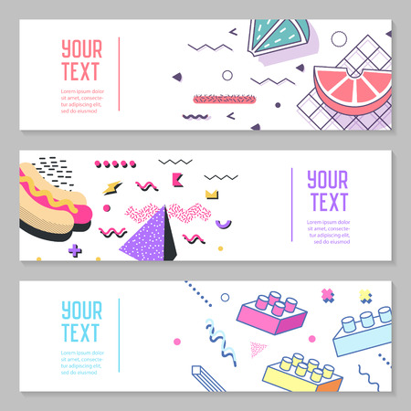 Abstract Memphis Style Horizontal Banners with Geometric Elements. Creative Trendy Retro 80s 90s Composition for Posters, Advertising Design. Vector illustration