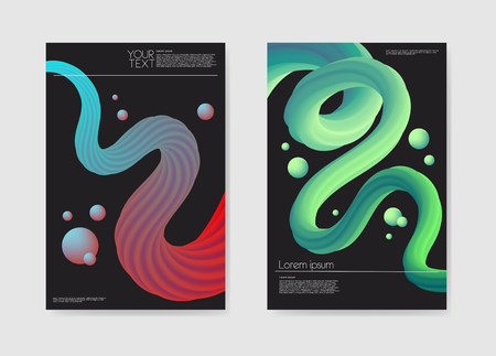 Abstract Futuristic Posters Liquid Background. Fluid Shapes Brochure Template. Banner Identity Card Design. Vector illustration 向量圖像