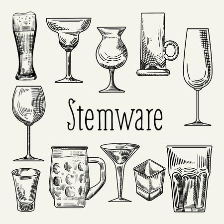 Set of Different Drink Beverage Glasses