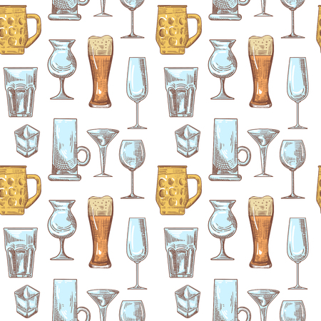 Different drink beverage glasses seamless pattern. Stemware hand drawn background. Illustration
